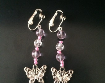 Butterfly Pendant Clip on Earrings
