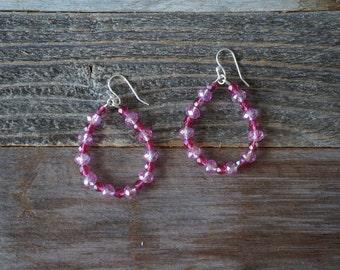 Pink Beaded Hoop Earrings, Beaded Hoop Earrings, Teardrop Beaded Earrings, Pink and Silver Hoops, Large Beaded Hoops, Boho Earrings