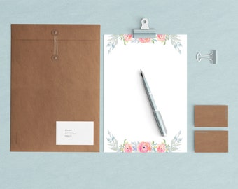 INSTANT Download Floral Watercolor Stationery