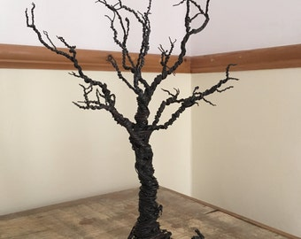 Handcrafted Freestanding Twisted Wire Tree Sculpture