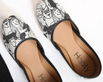 Women's vegan ballet flats | Quirky hand-illustrated dog print | Wearable art slip on shoes | Cruelty free fashion
