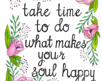 Soul Quote Watercolor Painting, Quote Print, Wall Art, Watercolor Print, Hand Drawn, Hand Painted, 5x7, 8x10, 11x14, 16x20