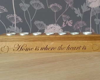 Personalised candle holder in Oak