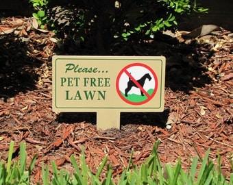 Pet Free LAWN Signs  | No Dog Poop Stake |  No Poop No Pee Signs | No Dog Pooping Signs | No Poop or Pee Dog Signs | No Pee No Poop Signs