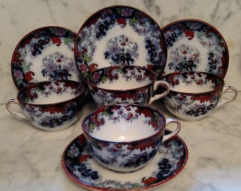 "Ridgeway ""Corey Hill"" Flow Blue Polychrome Tea Cups and Saucers Circa 1840-1850 English Cottage Farmhouse Décor Free Shipping Within USA"