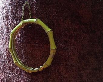vintage yellow enamel cuff