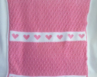 Hearts Aglow Baby Afghan, Pink and White, Knit & Crochet Blanket