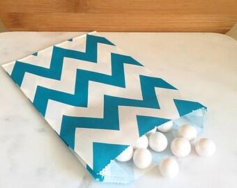 Aqua Blue Chevron Goodie Bags, Party Favors, Food safe (12)