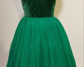 1950's Green Velvet Spaghetti Strap Dress