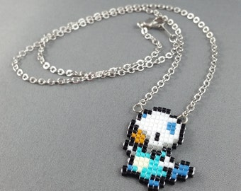 Oshawott Necklace - Pixel Necklace Pokemon Necklace Pixel Jewelry 8 bit Necklace Seed Bead Neklace Video Game Necklace Starter Pokemon