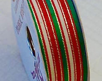 "ONE 25 YD Roll 1-1/2"" Red Green White Gold Striped Wire-edge Polyester Ribbon From Berwick-Ofray USA * Holiday Decor"