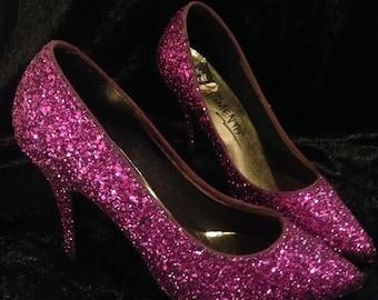 80's purple glitter pin up Burlesque heels 7.5