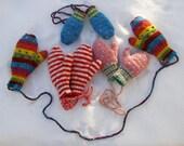4 pair of bright & fun children's thrum mittens CUSTOM ORDER for firefly07