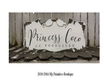 NAME SIGN for NURSERY   Personalized Wood Sign   Princess Wall Decor   Shabby Chic Wood Plaque   Wall Art