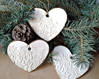 SALE THREE Ceramic Ornaments edged in gold wedding favors shower favors