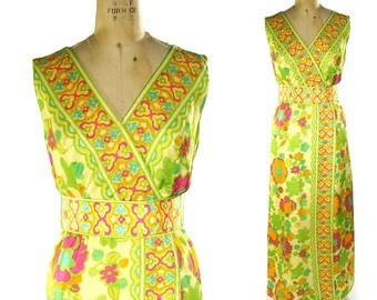 60s Hostess Maxi Dress / Vintage 1960s Hippie Psychedelic Cocktail Dress / Long Floral Print Boho Party Dress / Bohemian Gypsy Sundress