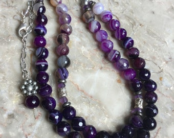 Purple and black agate double stranded necklace