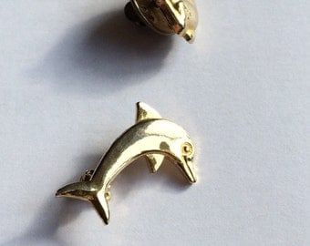4 Vintage pin set: 2 bunnies, Dolphin and gem Angel