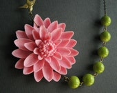 Statement Necklace,Pink Flower Necklace,Pink Floral Necklace,Flower Necklace,Pink Necklace,Chartreuse Necklace,Bridesmaid Gift,Gift For Her