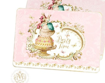 Marie Antoinette party invitations in pink with a romantic couple on a cake, ON SALE