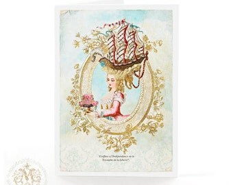 Marie Antoinette card, Coiffure, sailing ship, Paris, birthday card, French card, blue, gold, pink roses, cake, liberty, blank card