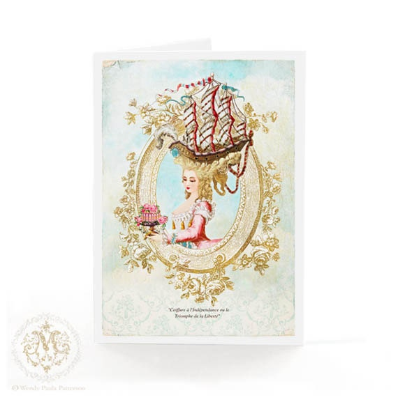 marie antoinette card coiffure sailing ship paris birthday. Black Bedroom Furniture Sets. Home Design Ideas