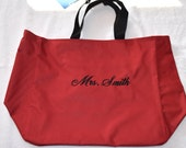 """75% off SALE """" Mrs. Smith  """" Canvas Tote Bag EMBROIDERED Large Bag Red and Black"""