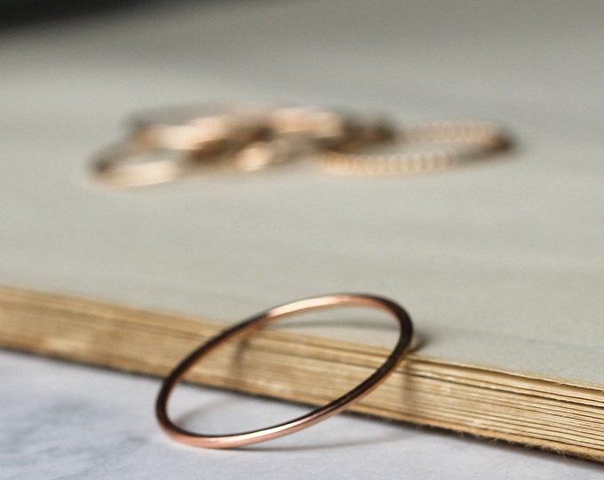 Skinny Stacking Ring - Rose Gold Fill