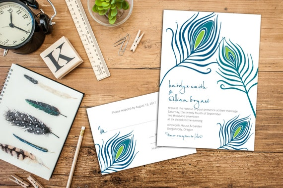 Peacock Feathers Wedding Invitation Set, Feather Wedding Invites, Wedding Response Cards, Thank you cards, Bold Elegant Feathers Invitations