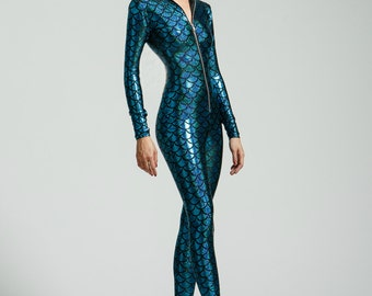 Turquoise Mermaid Holographic Bodysuit- Free Shipping
