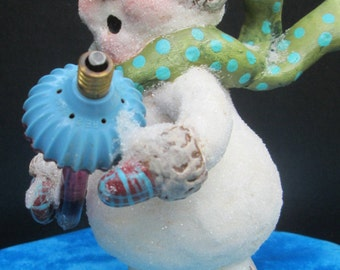 OOAK Christmas Holiday Snowman Winter Snowman Clay Figure Holding Vintage Bubble Light PRETTY AWFUL Team