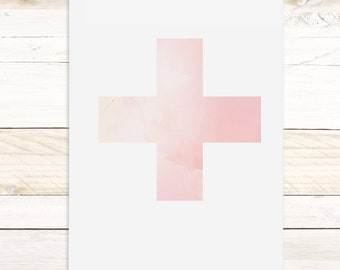 Rose Swiss Cross - Quartz Collection / Watercolor botanical wall hanging, wood trim art. Scientific Canvas Posters Chart More Options