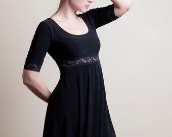 Black Empire Waist Dress-Made to order