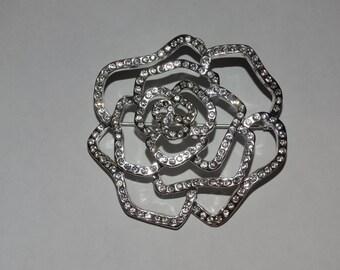 Rhinestone Silver Flower Brooch Pin Spring Time Flower Wedding Rose Bridal Jewelry Wedding Pin