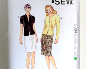 SALE - Vintage Women's Pattern - Kwik Sew 3084 - Uncut - Jacket and Skirts - XS to XL - Sewing Pattern - Ladies