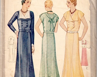"""Vintage Original Sewing Pattern 1930's Ladies' Dress Bust 40"""" McCall 6534 - With FREE Pattern Grading E-book"""