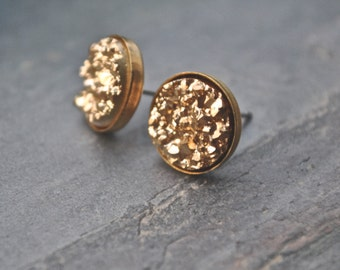 Gold Druzy Stud Earrings Bridesmaid Jewelry Bridal Party