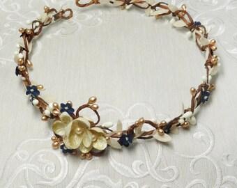gold champagne headpiece, bridal headband floral, navy wedding headband, cream headband, navy blue headpiece, bridal hair vine, navy vintage