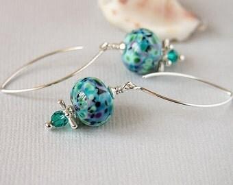 Blue Earrings, Lampwork Earrrings, Black, Turquoise, Green, Purple, Swarovski, Sterling Silver  - SPRING GARDEN