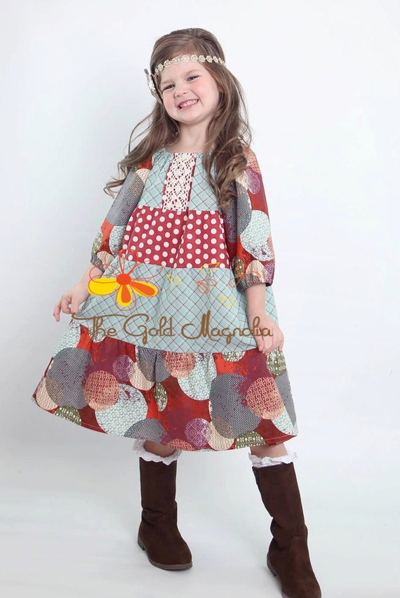 Girls Peasant Dress - Girls Fall Dress - Turquoise and Brown Dress - Back to School Dress - Fall Peasant Dress - Brown and Blue Dress