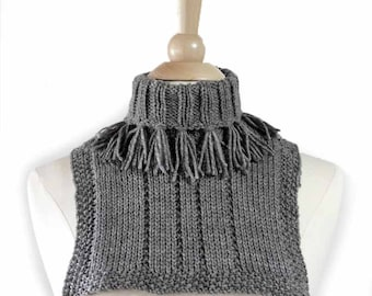 Knit Neck Warmer Grey Cowl Winter Fashion Gray Fall Accessory Knit Cowl Womens Accessory Turtleneck Neckwarmer Tassel Fringe