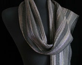 Handwoven Scarf Bamboo Scarf Long  Scarf Shawl Wrap Ships Priority in USA - Silver Lights