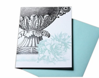 Elegant Urn and Flower in Nature Blank Greeting Card