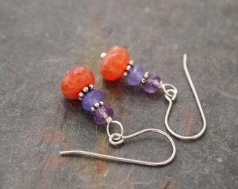 Amethyst, Lavender Jade and Fire Agate Earrings