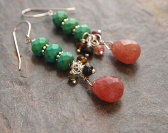 Turquoise, Tourmaline and Muscovite Earrings
