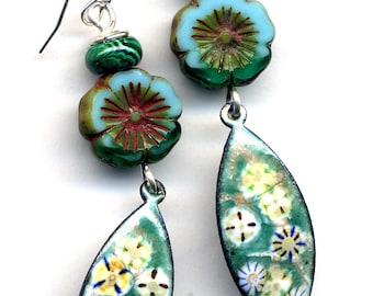 Malachite Enamel Earrings, Sterling Enamel Earrings, 925 Silver Earrings, Teal Turquoise Earrings, 925 Earring, Turquoise Floral Earrings