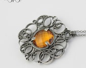 RESERVED Staring at the Sun - Sterling Silver & Citrine Pendant