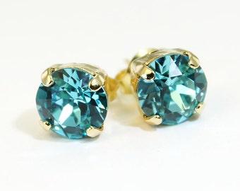 Aqua Blue studs Swarovski Crystal Aqua Gold Aqua post earrings Gold Light Turquoise 8mm Single Stone Teal Tiffany Blue,Aqua Wedding,Gold,GE1