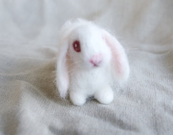 Lop Eared Bunny Needle Felted Rabbit White Albino Luxury Pet