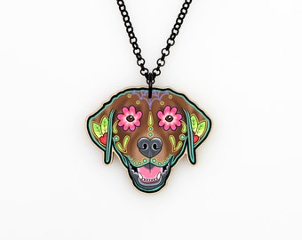 Labrador Retriever in Chocolate - Day of the Dead Sugar Skull Dog Necklace